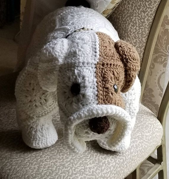 Max the Bull Dog- Handmade African Flower Motif, Crochet Stuffed Animal, Plushie, Baby shower gift, Great gift for boys or girls birthday