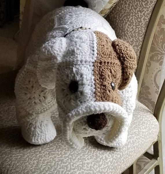 Max the Bull Dog- Handmade African Flower Motif, Crochet Stuffed Animal, Plushie, Baby shower gift, Great gift for boys or girls birthday