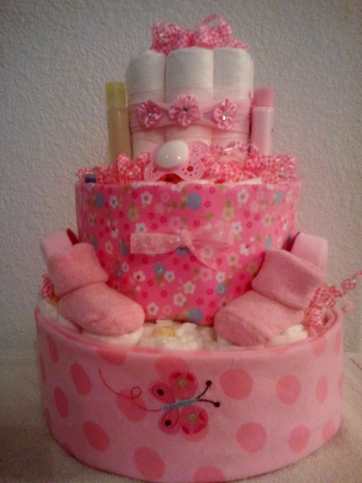 Butterfly Diaper Cake, Pink Diaper Cakes, Pink Butterfly, Butterflies, Baby  Shower Ideas Gifts, Cakes Baby Showers, Cake Baby, Baby Gifts, Fun Gifts