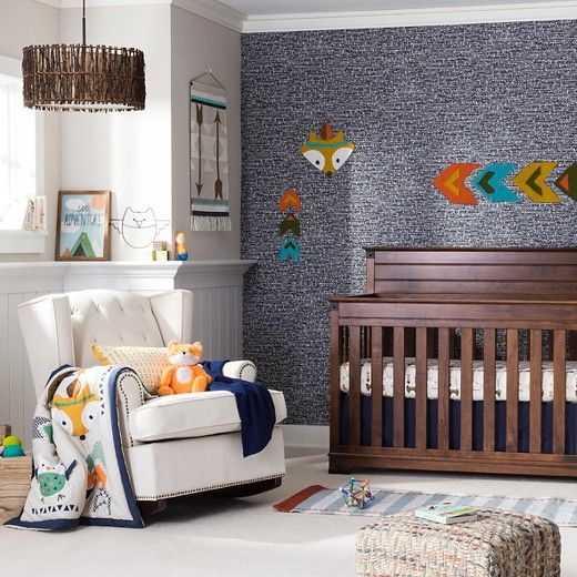 Aztec Nursery Room! This southwestern-inspired set includes a comforter featuring native bear, fox with appliqued feather, and owls with appliqued wings as well as geometric arrow patterns