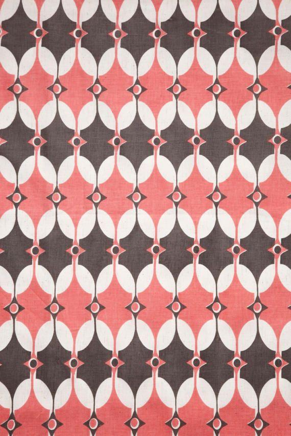 Selin Fresh Pink Cotton Flax Fabric - Fawn Fabric - Geometric Fabric - Mid Century Fabric - Scandinavian Fabric - Pink Mid Century Fabric