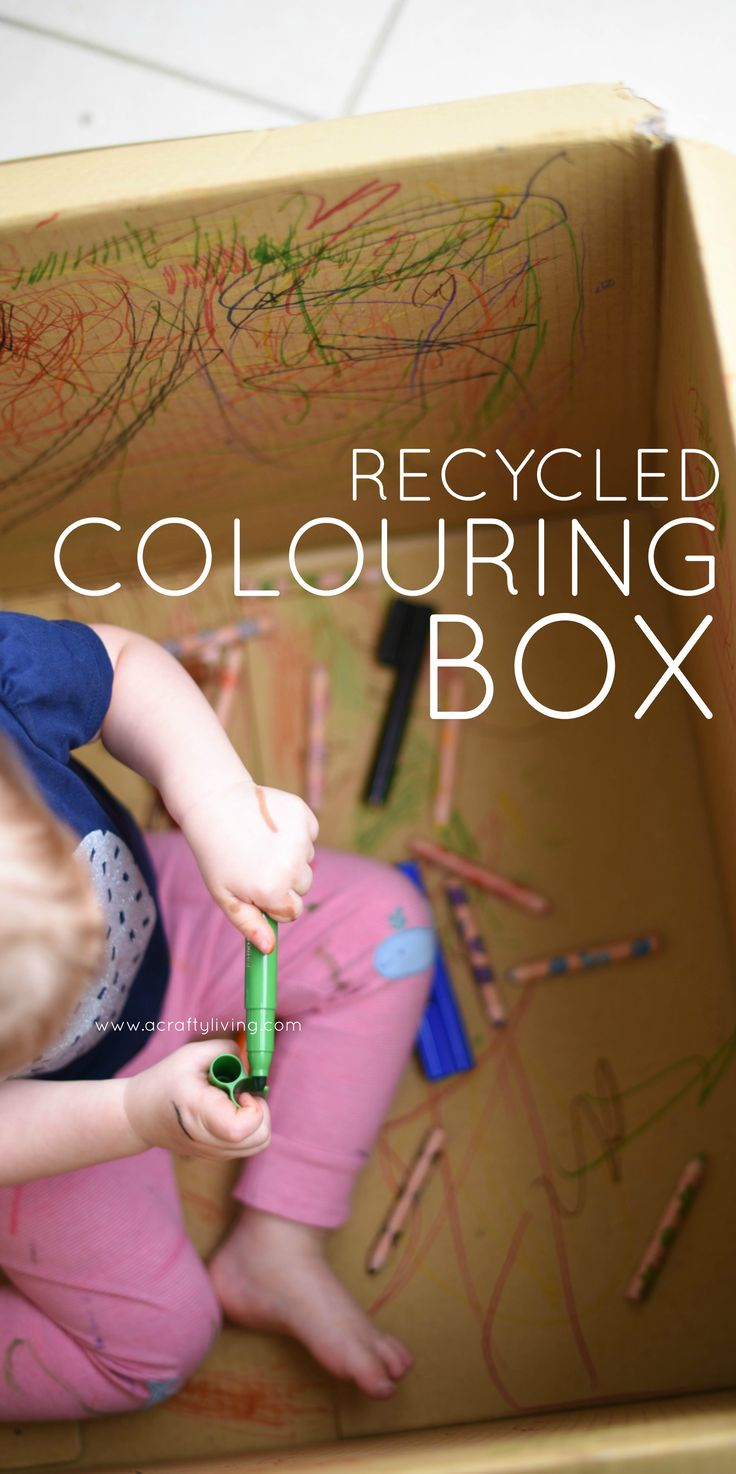 Repurpose your Cardboard Boxes! DIY Recycled Colouring Box for Toddlers & Preschoolers! www.acraftyliving.com