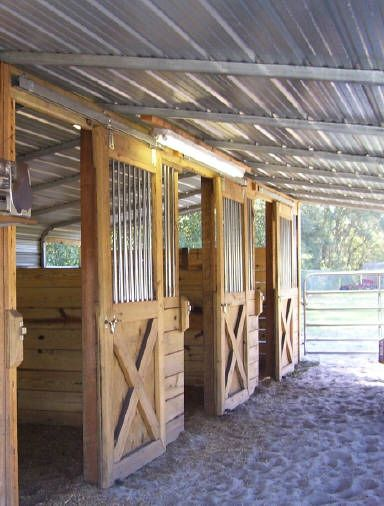 I know they're simple but I love these stalls ! I would put them inside the barn though!