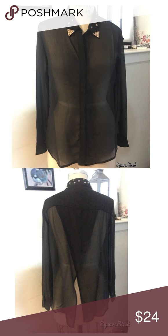 Romeo & Juliet Cou. Studded Collar Shirt Sheer button down shirt with gold studded collar. Cross cross layered  back detail. Awesome statement top. Romeo & Juliet Couture Tops Button Down Shirts