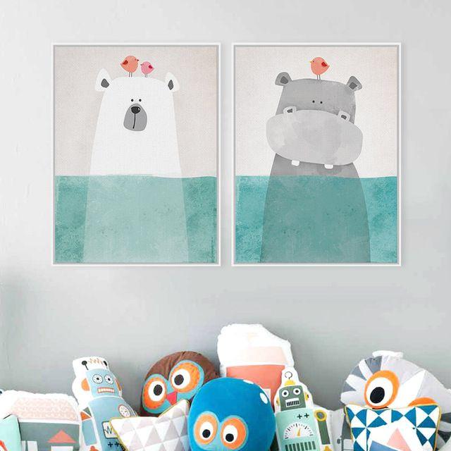 Nórdico moderno Kawaii Urso Hippo Animal Ave A4 Cópias Da Arte cartaz Dos Desenhos Animados Retratos Da Parede Da Lona Pintura Sem Moldura Quarto Dos Miúdos decoração