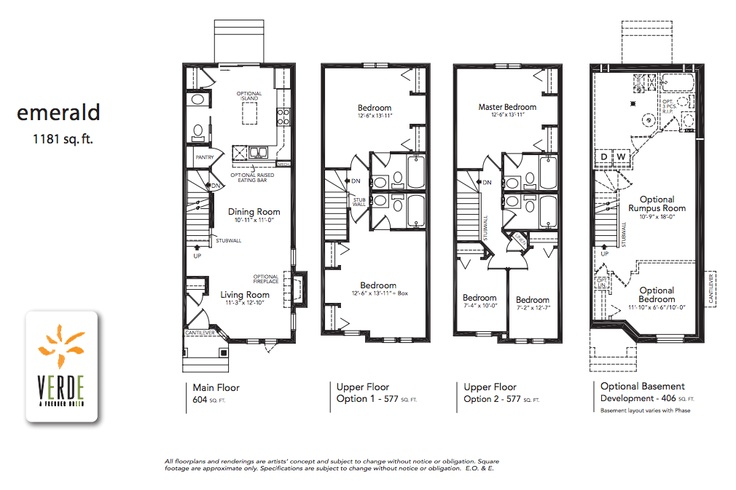 'Emerald' floorplan model at Verde in Clearview. 1181 sq.ft.    - Optional lower level development adds 371 square feet.  - 2 large bedrooms each with an en-suite or one with walk-in closet and cheater en-suite.  - Large L-shaped kitchen with patio doors leading to the private back yard and peninsula open to dining and living room.