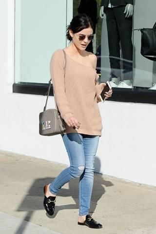 Lucy Hale wearing Smoke x Mirrors Driver's Seat Sunglasses, Florian London Amelia Shoulder Bag, Andre Assous Priya Paten Flats and Parker Smith Bombshell Skinny in Gulfstream ($198)