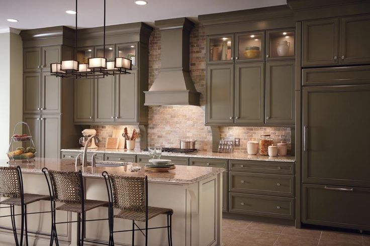 Lovely mushroom colored cabinets colored kitchen for Grey green kitchen cabinets