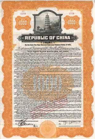Republic of China 6 % Gold Treasury Note 1.000 $ 1.11.1919 (Auflage 5500, KU 530, unbedient verblieben 1695 Stück).
