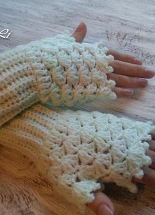 Митенки. перчатки без пальцев. митенки ручной работы+ за+80+грн.
