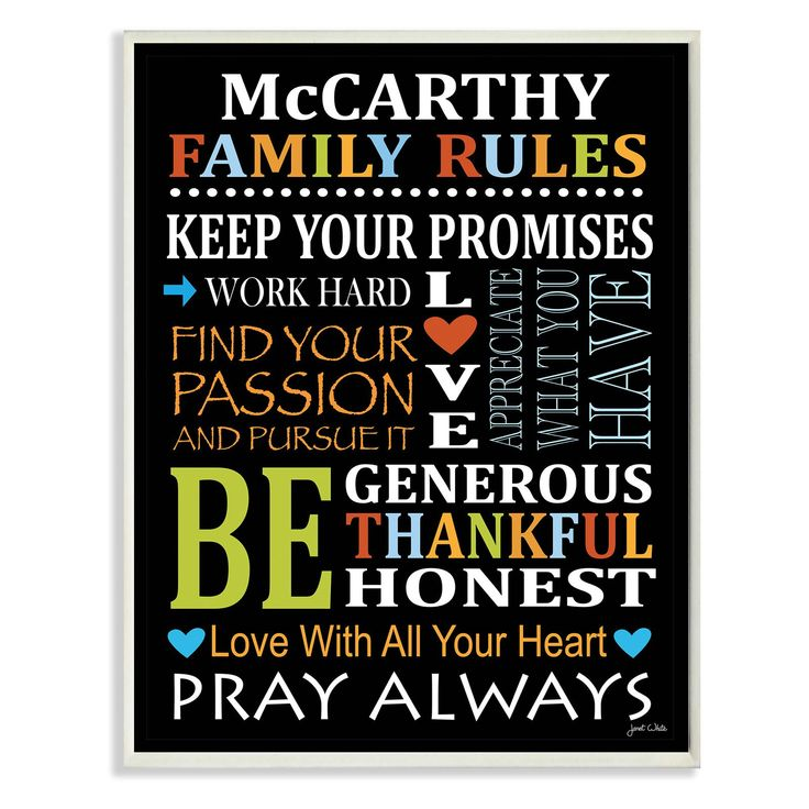 Personalized Family Rules Rainbow By Janet White Unframed Textual Art Print On Wood Personalized Family Rules Family Rules Family Rules Wall Art