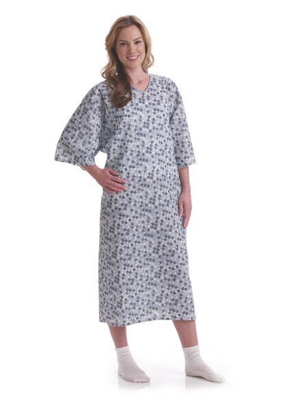 Modesty Tie Side hospital Gown Royale Print - BH Medwear