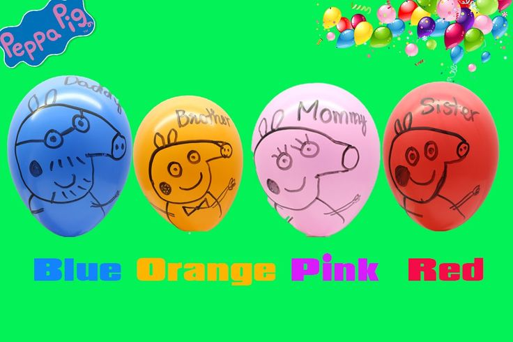 Peppa Pig Wet Balloons Faces | Learn colours finger family Peppa Pig Bal...