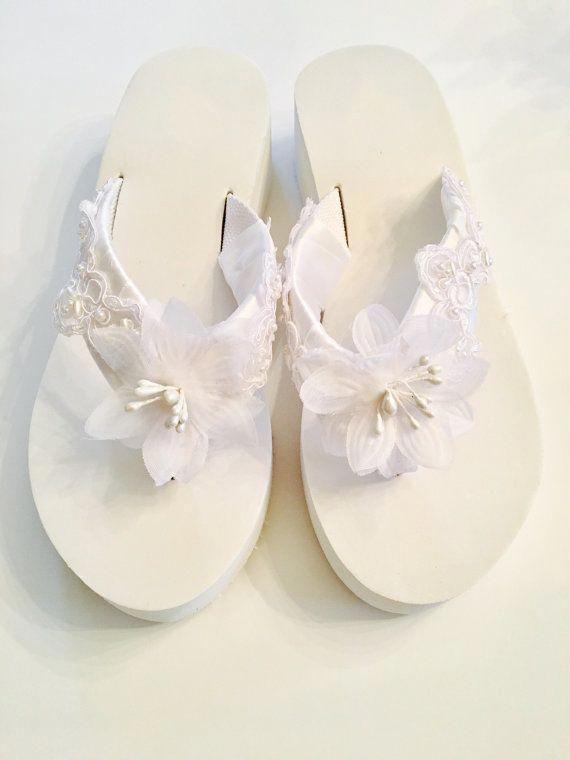687710928f5b0 Bridal Flip Flops Wedges.Wedding Flip by RocktheFlops on Etsy   flipflopsOnBeach