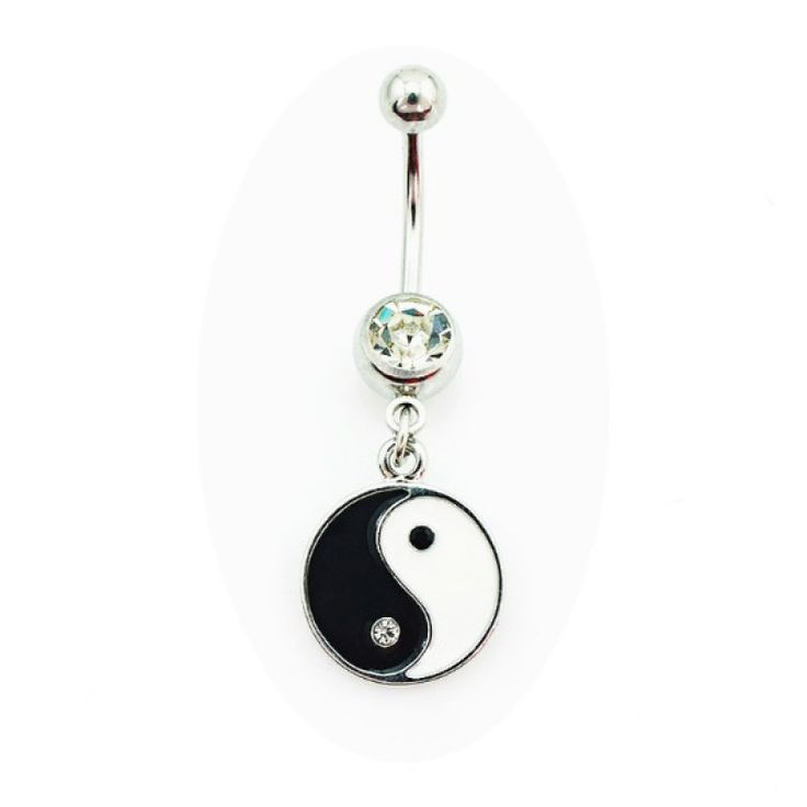Barra para piercing de ombligo con signo yin yang. 1,6mm de grosor. Yin Yang: 13mm de diámetro. Acero quirúrgico. Miles de modelos para elegir en Limonbay!