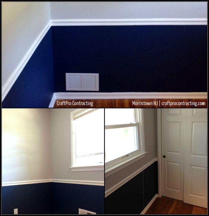 Two tone wall paint design benjamin moore 39 s van deusen blue hc 152 in 39 aura 39 matte under for Benjamin moore aura interior matte 522