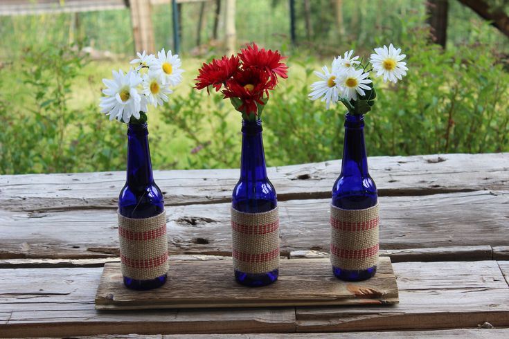 Simple 4th decor budweiser platinum bottles ribbon red for Beer bottle decoration ideas