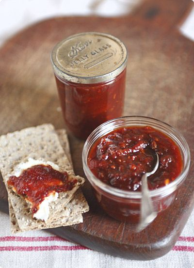 Red Party Bite: Parsi Tomato Chutney. Use this to top a cracker with cheese.
