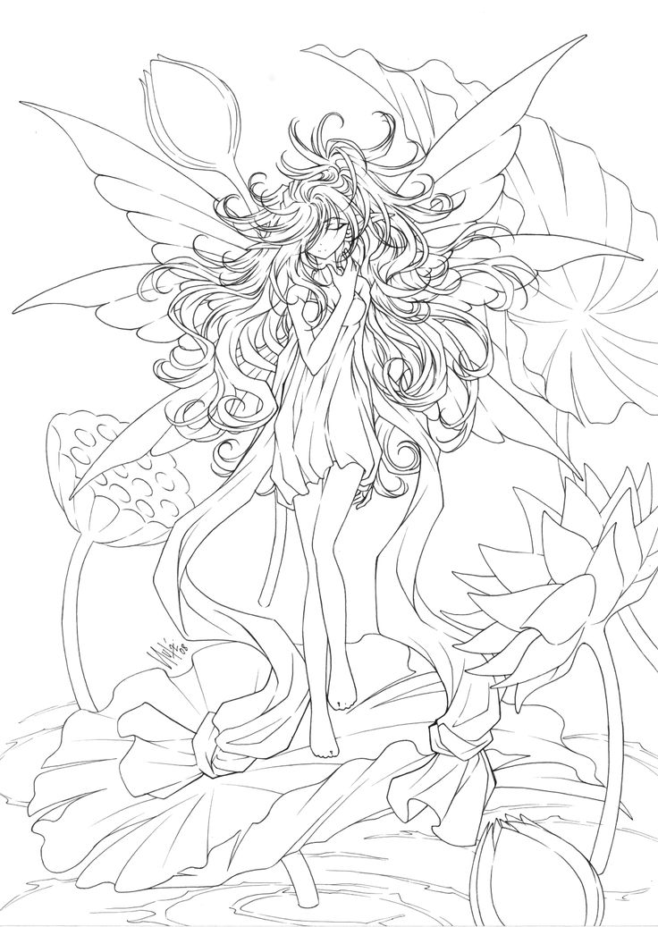 Free printables almost anime fairy coloring page