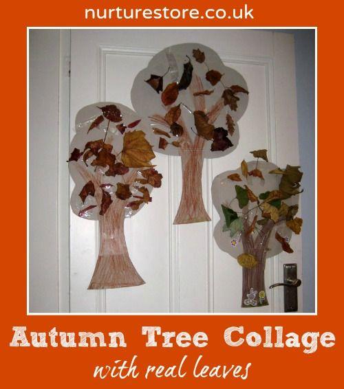 atividades com folhas secas - arvore de colagem
