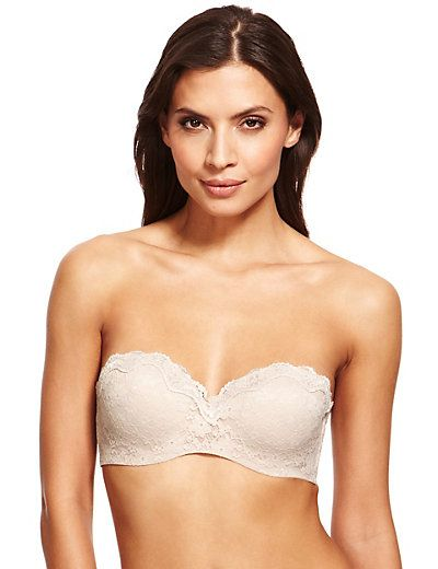 All Over Floral Lace Bandeau Strapless Bra A-D | M&S
