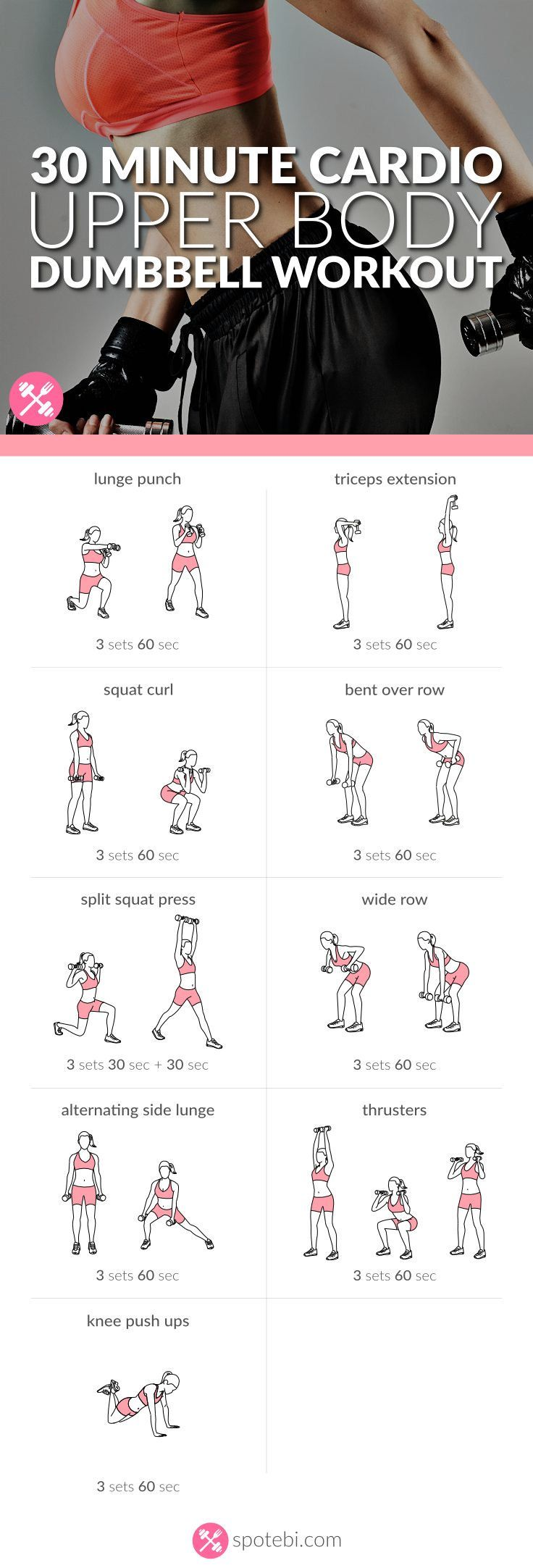 Quickly transform your upper body with this 30 minute cardio routine for women. A dumbbell workout to tone and tighten your arms, chest, back and shoulders. http://www.spotebi.com/workout-routines/30-minute-cardio-upper-body-dumbbell-workout/