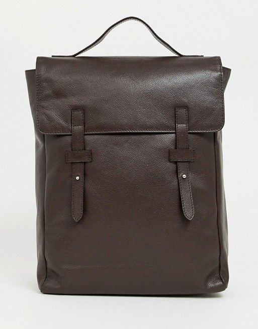 8320223ad8c DESIGN leather backpack in brown with double straps in 2019 | asos ...