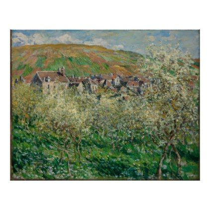 Vintage Monet 1879 Flowering Plum Trees Poster - diy cyo customize gift idea personalize