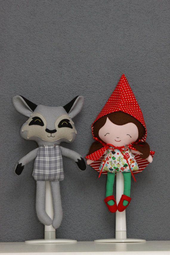 Roodkapje pop en Meneer Wolf knuffel, made by puppetsandhugs