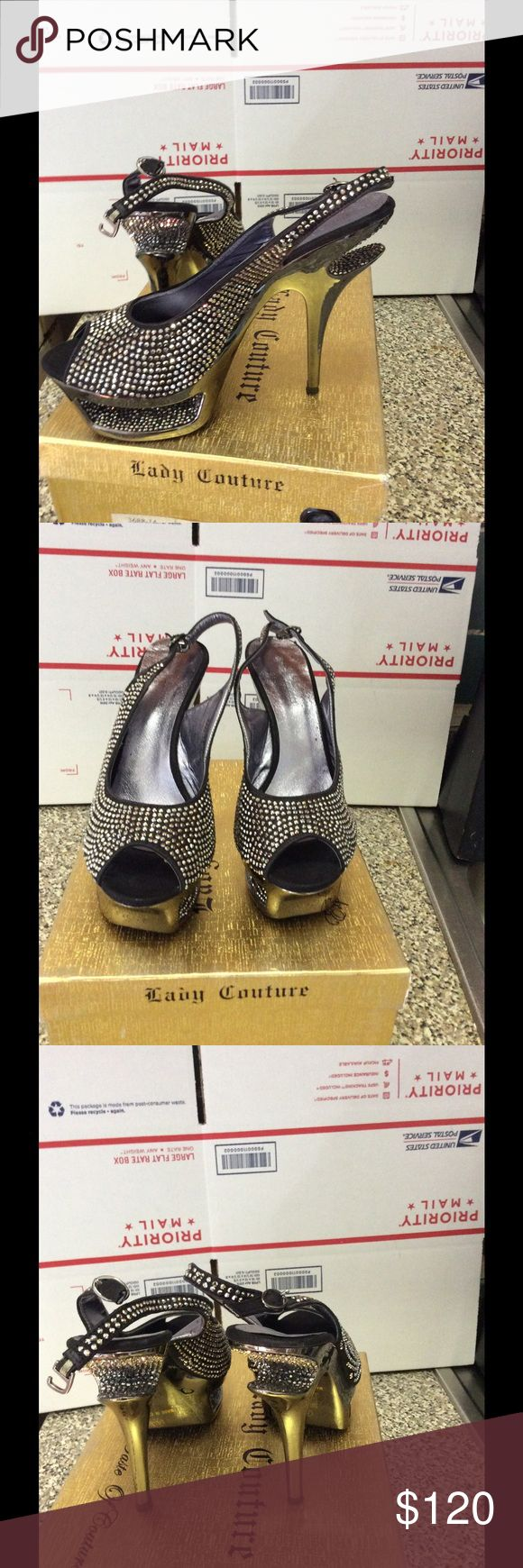Used Lady couture heels Sling back heels.                                              Sliver crusted black looks gray also . Beautiful heels by lady couture. Lady couture Shoes Heels