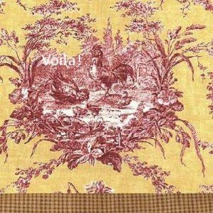 Waverly Valance French Toile La Petite Ferme Spice Broadway Red Rooster Yellow