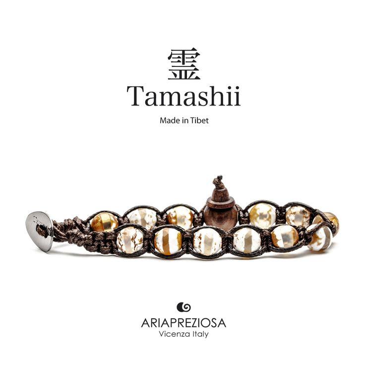 Bracciale originale Tamashii Painted realizzato con pietre naturali AGATA GHIACCIO dipinta col. MARRONE.