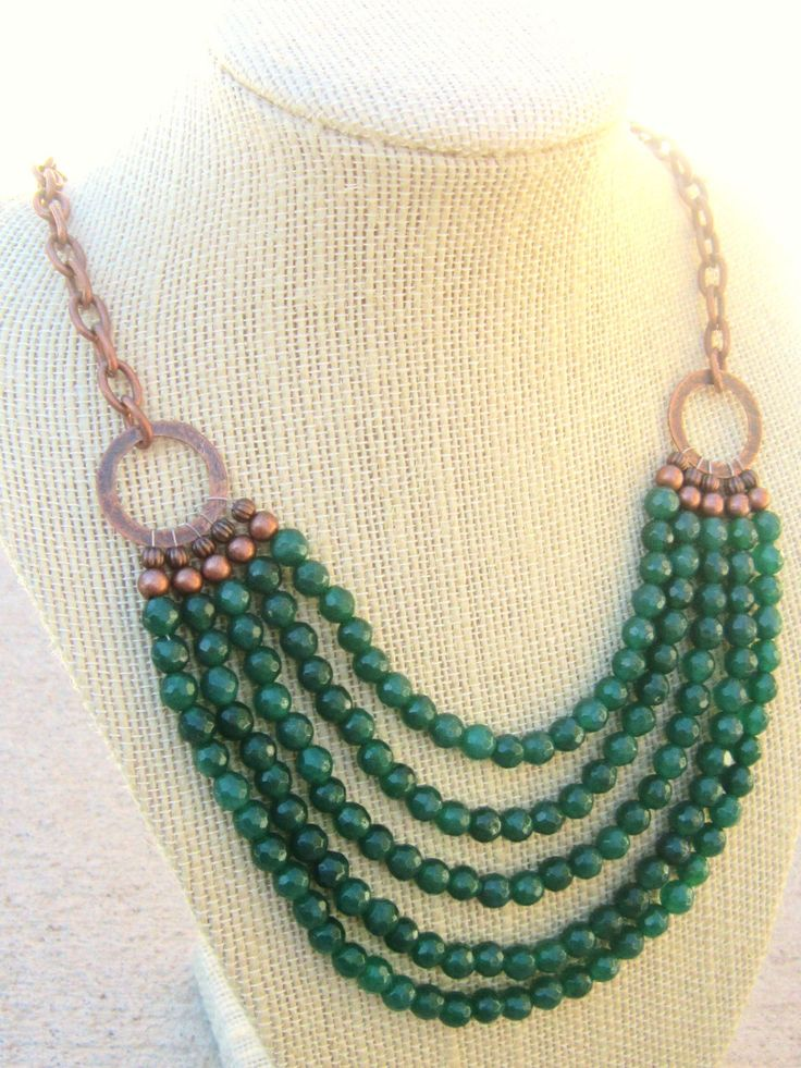 (type 3: beads to be irregular) Jade Bib Necklace. Multi Strand Green Jade Necklace. Copper Chain 5 Strand Necklace. Beadwork Necklace. Statement. Jade Jewelry. $38.00, via Etsy.