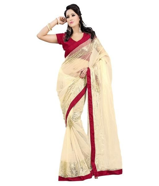 Beige Color Net Saree With Lace Border Work https://ladyindia.com/collections/net-sarees/products/beige-color-net-saree-with-lace-border-work  #saree #netsaree #designersaree