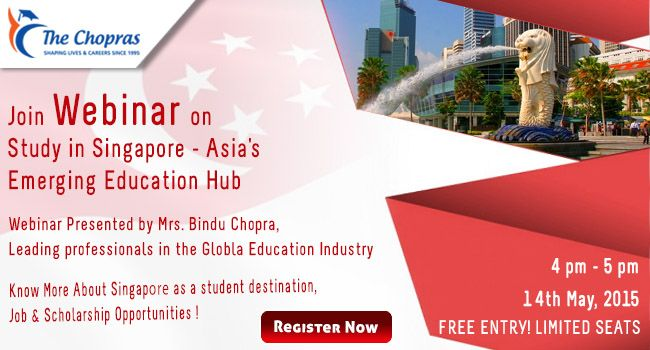 Free #webinar on Study in Singapore - Asia's Emerging Education Hub Register to attend : https://attendee.gotowebinar.com/register/4642469411844916225  Get an opportunity to understand, explore and ask questions about Singapore education, Top Universities, Visa process, Intakes important dates and much more.  #studyinsingapore  #studyabroad  #singaporeeducation  #educationhub