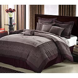 Florence 8-Piece Plum Comforter Set - The Florence comforter set features a scroll embroidery design and classic diamond quilting in the center of the comforter. This set has coordinating colors of Plum, lavender and silver for a fabulous look.
