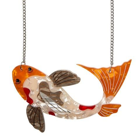"""Erstwilder Collectable Playing Koi Necklace. """"You can dispatch the pretense of timidity. After all, I'm designed to be decorative and I'd love to be friends."""""""