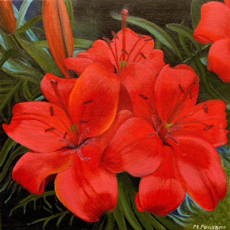 """12x12"""" oil on canvas - lilies"""