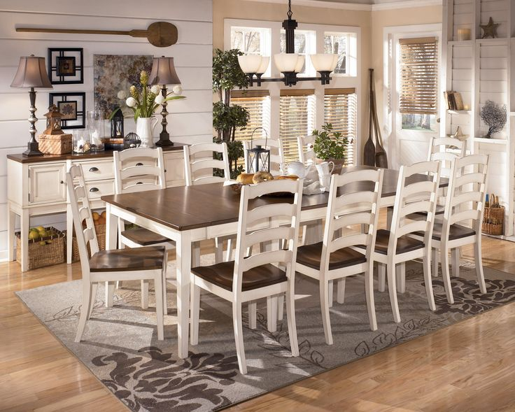With The Warm Two Tone Look Of Cottage White And Burnished Brown Finishes Beautifully Accenting Stylish Design Whitesburg Dining