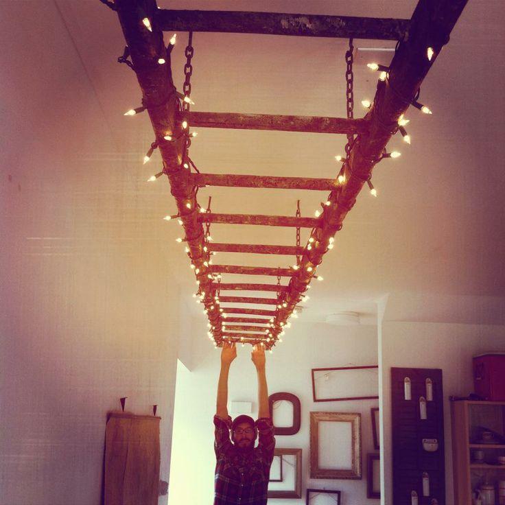 Ladder lighting with christmas lights