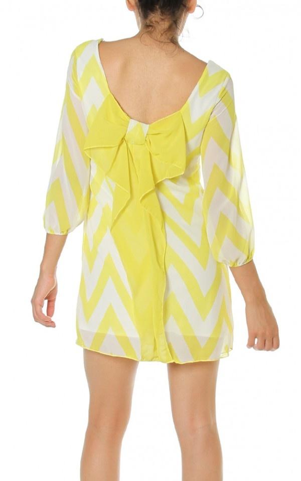 Chevron Print 3/4 Sleeve Scoop Neck Bow back Shift Mini Dress $27.95