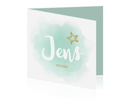 Hip geboortekaartje met mint groene pastel kleuren in aquarel stijl voor jullie baby. MEt leuke goudkleurige sterretjes en unieke binnenkant.