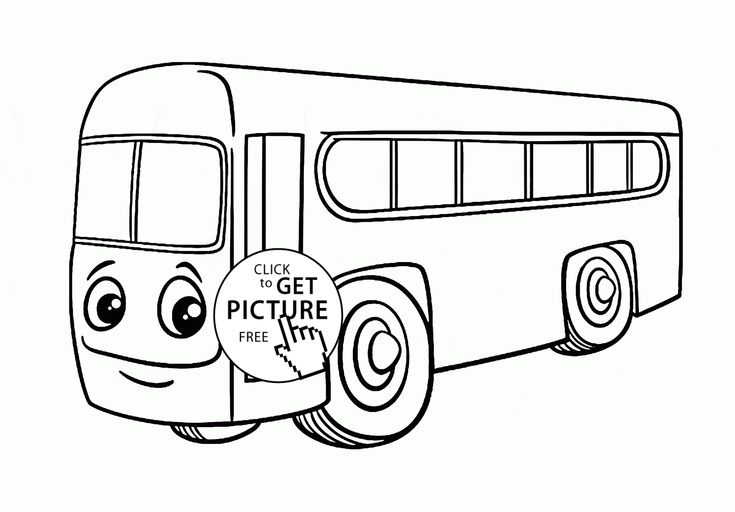 Cartoon City Bus coloring page for toddlers
