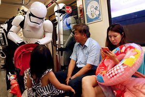 A stormtrooper on the Taipei metro