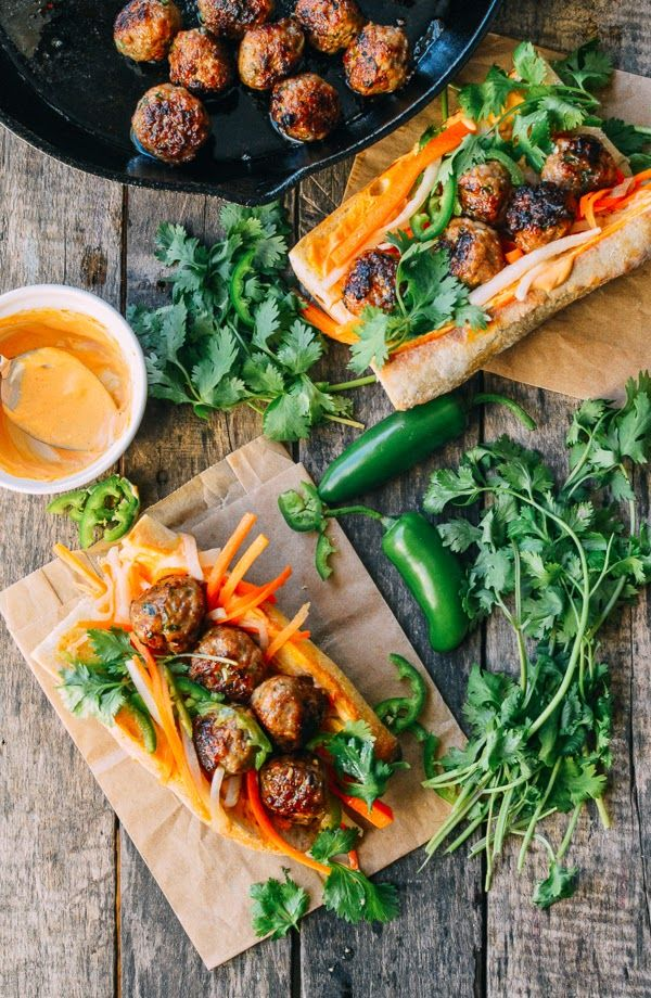 [Spicy Meatball Banh Mi] + Click For Recipe! #easy #recipes #asian #vietnamese