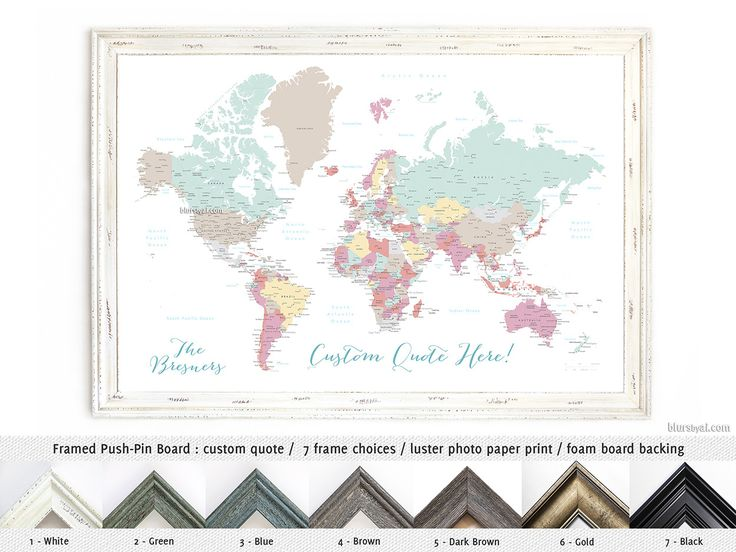 Elite framed push pin board with your custom quote: World map with cities. Color combination: Pretty pastels #FoamCoreBoard #CorkBoardBacking #FramedPushPinBoard #AnniversaryGift #HandmadeFramedPushPinBoard #FramedCorkboard #HandmadeInUsa #MadeInUsa #CustomDesignedPrint #AnniversaryGiftIdea