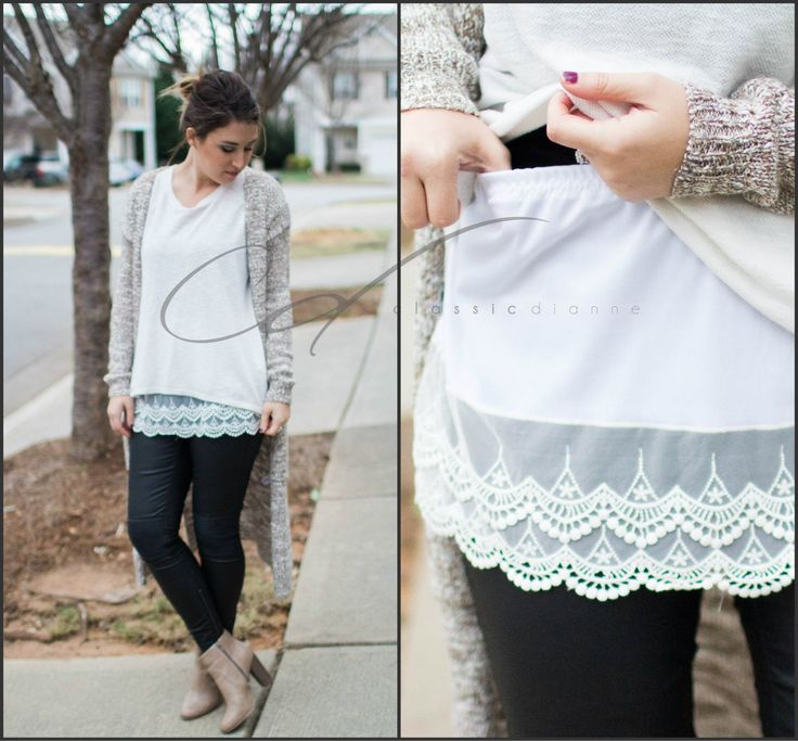 Easy DIY. Slip on shirt extender to add length and lace detail to the bottom of any shirt. Mehr