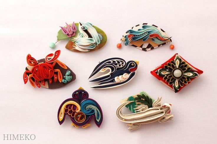 つまみ細工・ブローチ brooch  ● silk art HIMEKO  facebookpage https://ja-jp.facebook.com/himekosilkart  ● http://www.a-yarn.com/