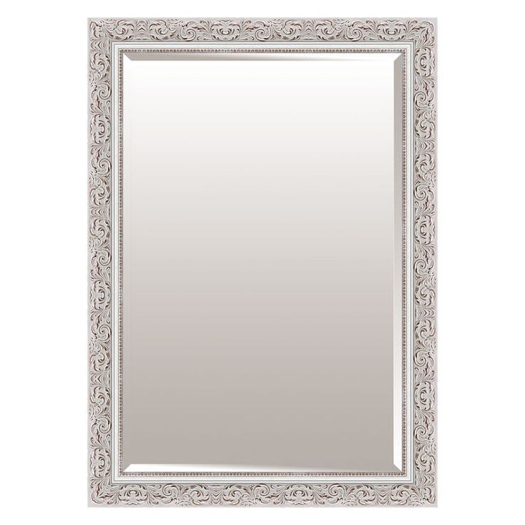 24 X 36 In Antique White Scroll Beaded Mirror