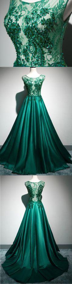 Deep green satin long lace top see through evening dresses, long halter winter formal prom dress